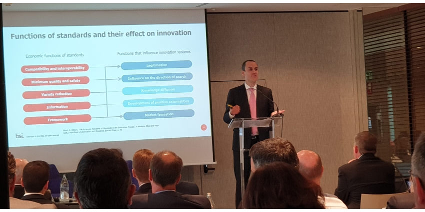 Alberto Garcia-Mogollon took the visitors on a 'tour' during his presentation on building confidence and accelerating innovation through standardisation.