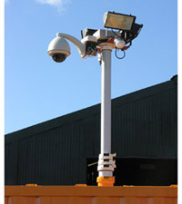 SentryBox comprises a container of some 3m cubed and a pneumatic CCTV mast mounted in the roof with camera and dome attached