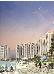 The Pearl of Qatar, a luxurious artificial island to be constructed next to Doha