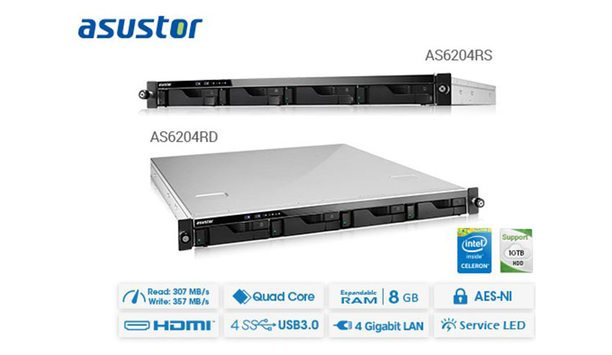 ASUSTOR launches new AS6204RS, AS6204RD rackmount models featuring Intel Braswell quad-core processors