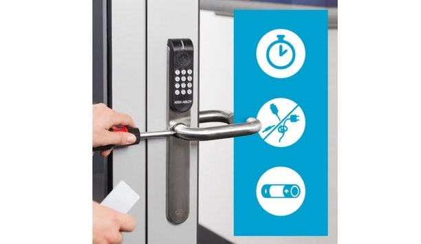 Aperio RFID-equipped wireless locks are compatible with major access control systems