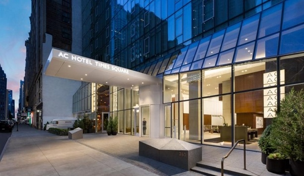 Boon Edam's BoonAssist revolving door installed at AC Hotel in Times Square, New York City
