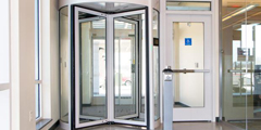 Boon Edam Tourlock security revolving door installed at Martin's Famous Pastry Shoppe corporate office in Pennsylvania
