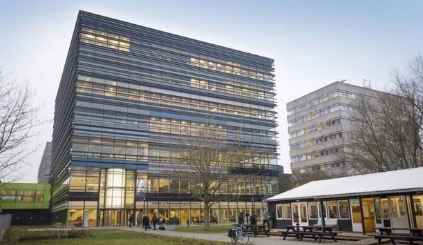 Boon Edam's TQM manual revolving door installed at Utrecht University's Koningsberger building main entrance