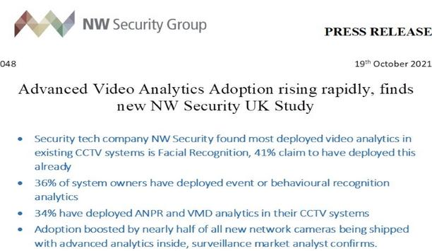 Advanced video analytics adoption rapidly rising in CCTV systems across UK's businesses, as per NW Security report