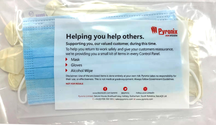 Pyronix provides a small hygiene kit with every control panel to ensure installers safety during COVID-19 pandemic