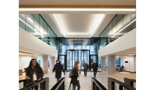 London's Riverscape Office Building Upgrades To Boon Edam Crystal TQ Revolving Doors And Lifeline Speedlane Swing Optical Turnstiles