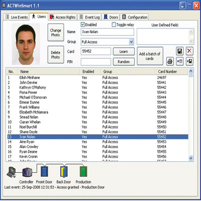 ACT ACTsmart2 Software access control software with password protection