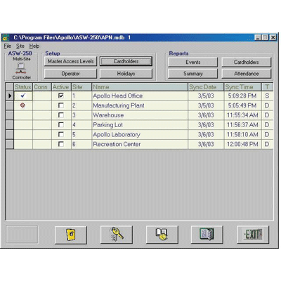 Apollo Security Sales ASW-35 access control software with selective event reporting
