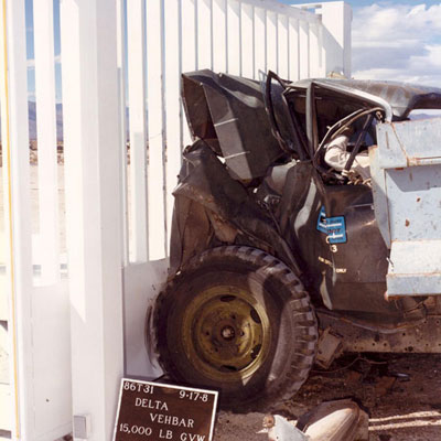Delta crash gates withstand impacts to 66.7 kN at 80 kph suffering no significant damage