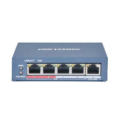 Hikvision DS-3E0105P-E(B) 4 port 100 Mbps long-range Fast Ethernet Unmanaged PoE switch