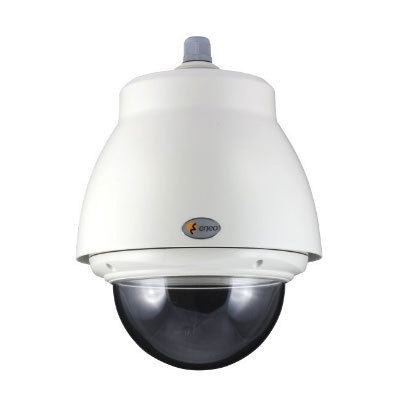 "Eneo EDC-OPS-2/24V Pendant Mount Outdoor Dome Housing With Sunshield, Tinted Bubble 6.5"", 24VAC"
