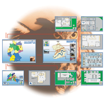 Geutebruck MultiMap CCTV software with intuitive operation through customisable graphical user interfaces