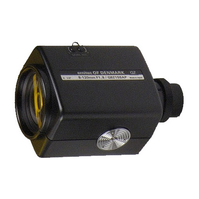 Geutebruck MZ8/120AI-DC-PT motor zoom lens with direct controlled iris and potentiometer for pre-positioning.