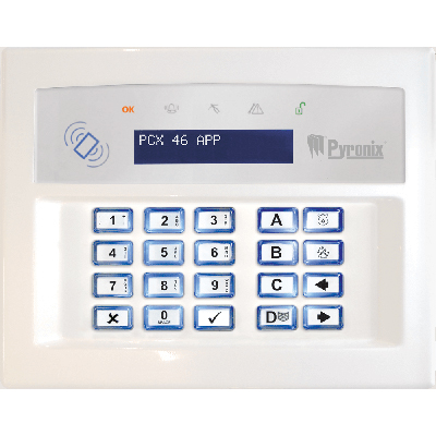 Pyronix PCX Keypad to set or unset your security system