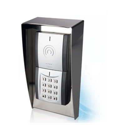 SALTO i-Button modular wall reader with keypad designed for outdoor installation on uneven surfaces