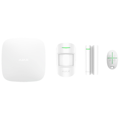 Ajax StarterKit - Consists of hub, motion detector, opening detector and key fob with panic button