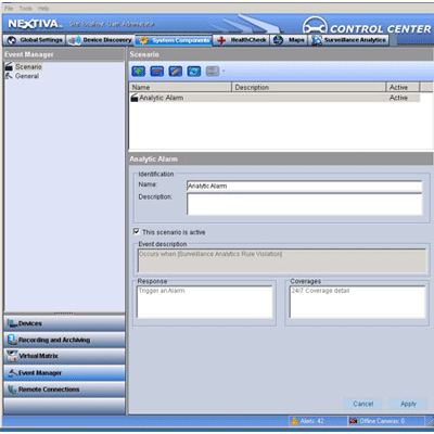 Verint Nextiva Event Manager CCTV software with automatic event notification