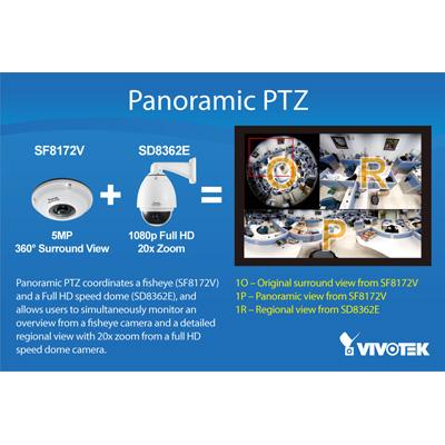 Vivotek Panoramic PTZ 360 degree surveillance solution compatible with VIVOTEK megapixel and dome camea